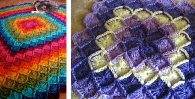 colorful crocheted wool eater blanket   the crochet space