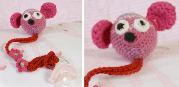 crocheted baby pacifier holder | the crochet space