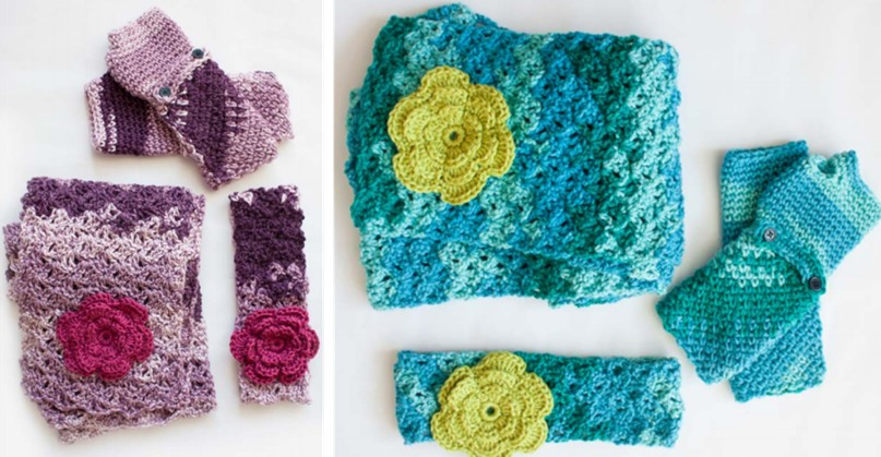 colorful crocheted cozy posy set | the crochet space