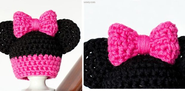 Crocheted Minnie Mouse Inspired New Born Hat [FREE Pattern]