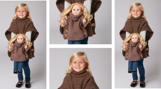 Crocheted Poncho For A Girl And Her Doll [FREE Crochet Pattern]