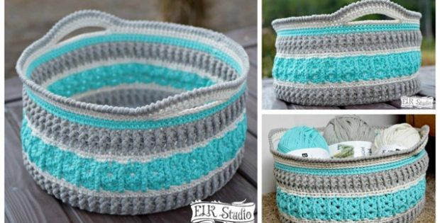 Sea Glass Crocheted Basket [FREE Crochet Pattern Video Tutorial] Cool Free Crochet Basket Patterns