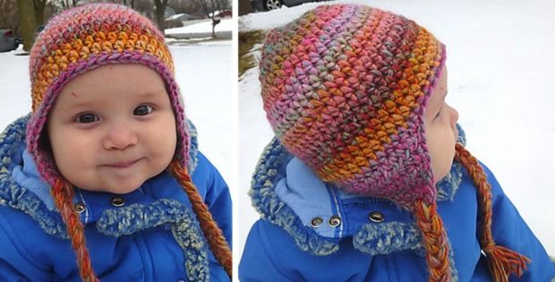 Seamless Crocheted Earflap Hat [FREE Crochet Pattern]