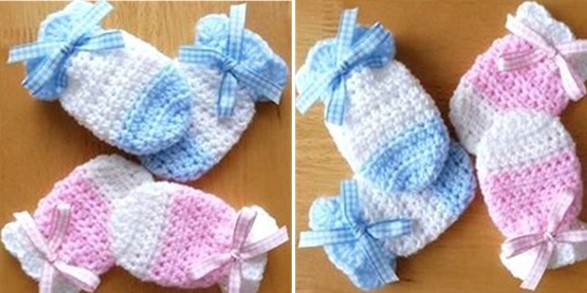adorable crocheted baby mitts | the crochet space
