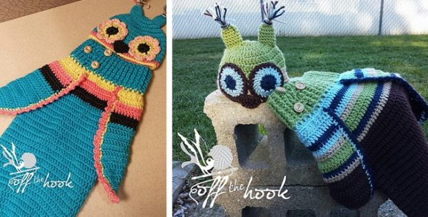 Crocheted Baby Owl Cocoon And Hat Free Crochet Pattern