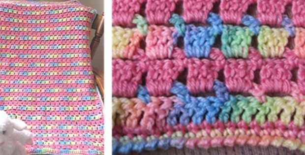 Block Stitch Crocheted Baby Blanket Free Crochet Pattern