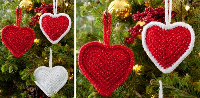 crocheted Christmas love hearts | the crochet space