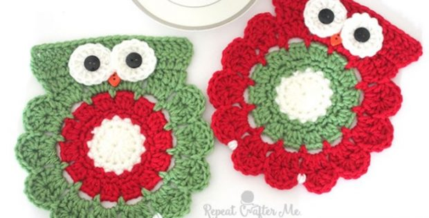 Christmas Crocheted Owl Coasters Free Crochet Pattern