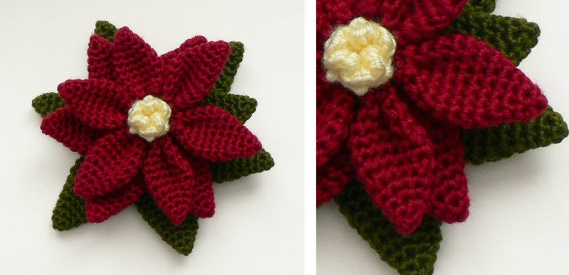 Free Crochet Patterns For Christmas Flowers : Crocheted Christmas Poinsettia [FREE Crochet Pattern]