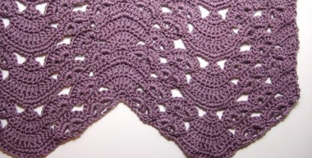 Crocheted Ripple Blanket With Fans And Pansies Free Crochet Pattern