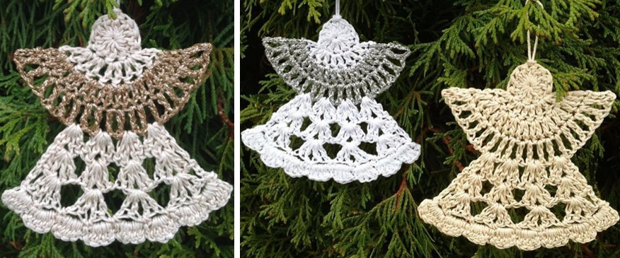 5 Little Monsters: Lacy Crocheted Angel Ornament | 365x876