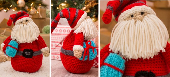 huggable crocheted Santa pillow | the crochet space