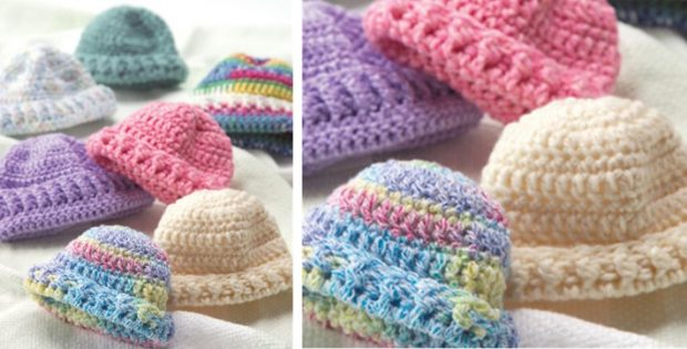 easy crocheted newborn caps | the crochet space