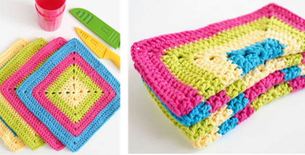Solid Granny Crocheted Dishcloth Free Pattern Video Tutorial