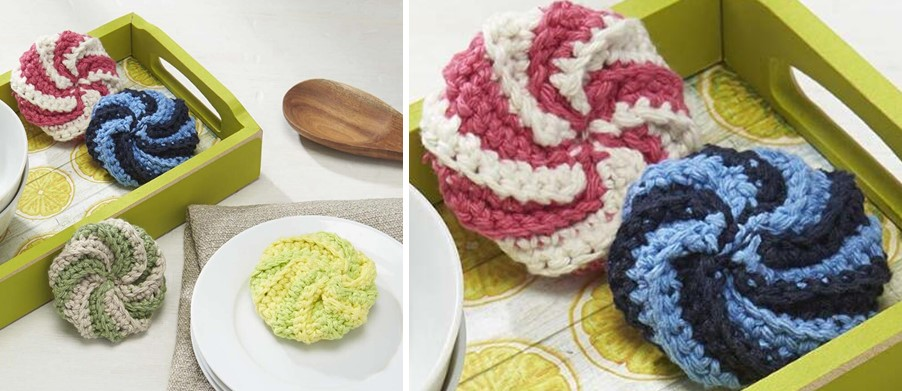 Fun Crocheted Spiral Scrubby [FREE Crochet Pattern] Gorgeous Crochet Spiral Scrubbies Pattern