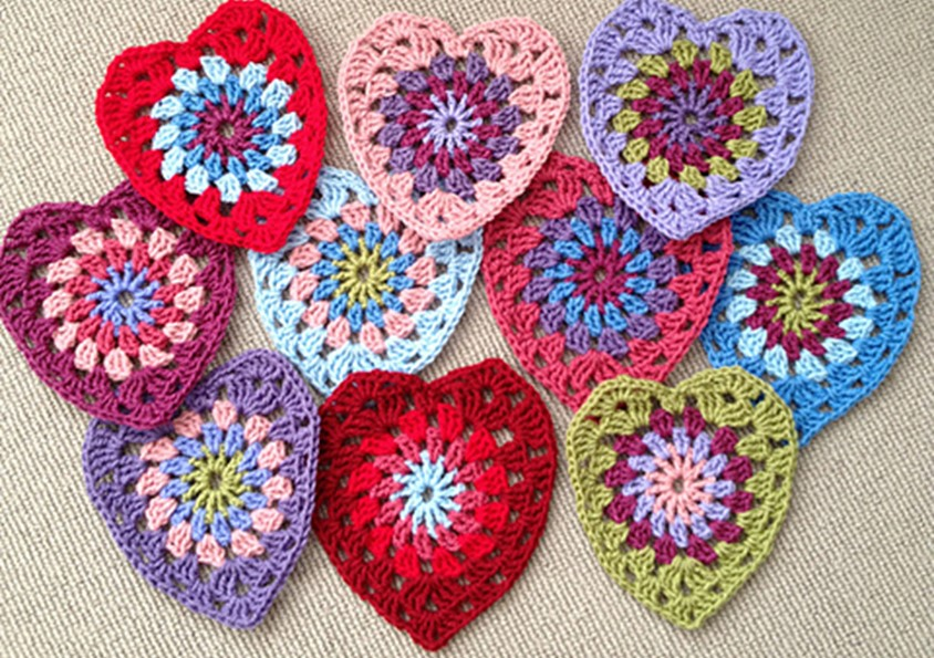 Free Crochet Granny Heart Pattern : Sunburst Crocheted Granny Hearts [FREE Crochet Pattern]