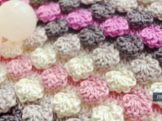 textured crocheted bobble shell stitch | the crochet space