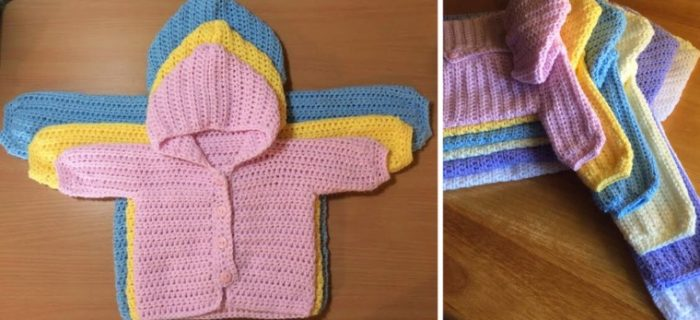 three way crocheted baby sweater | the crochet space