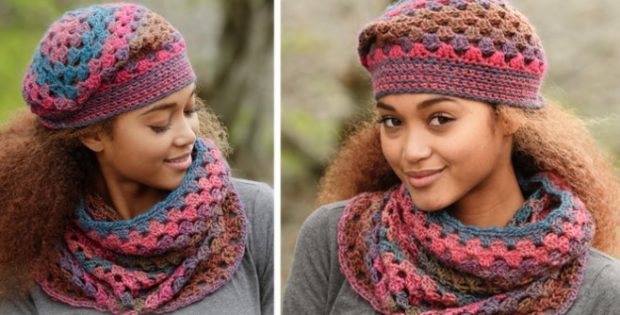 Treble Crocheted Neck Warmer And Hat [FREE Crocheted Pattern]