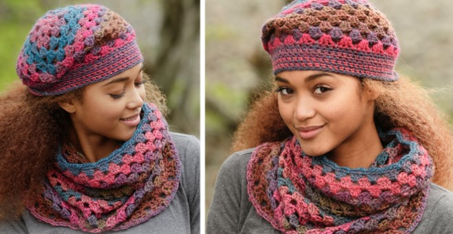 Treble crocheted neck warmer and hat | the crochet space