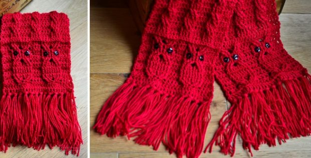 Owl Crocheted Cable Scarf Free Crochet Pattern
