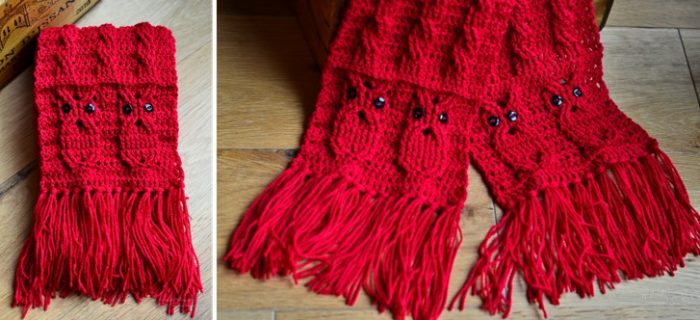 owl crocheted cable scarf | the crochet space