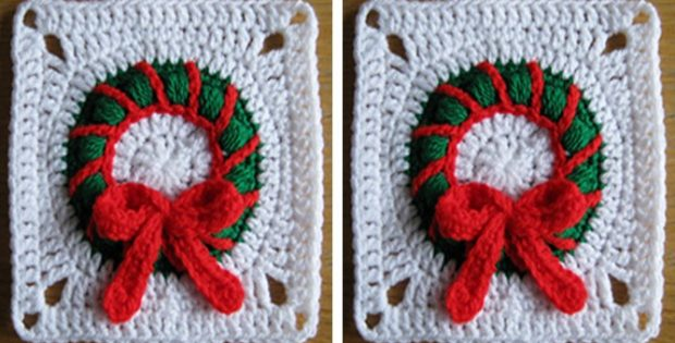 Christmas Wreath Crocheted Square | the crochet space