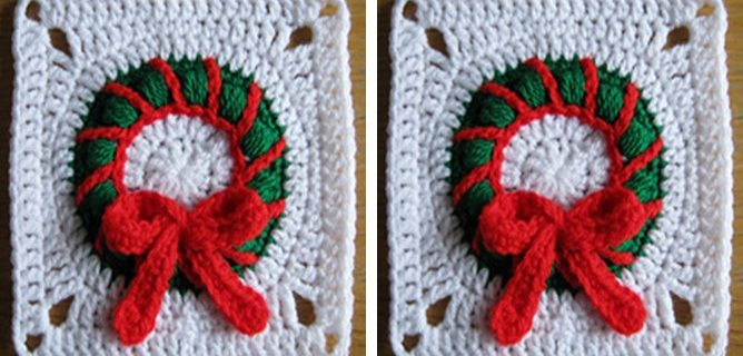 Christmas Wreath Crocheted Square   the crochet space