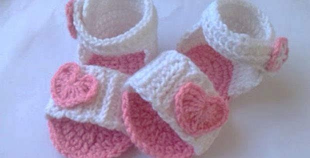 Heart Crocheted Baby Sandals Free Crochet Pattern
