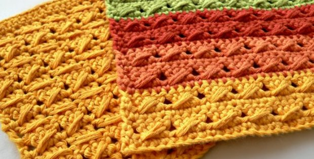 cable stitch crocheted dishcloth | the crochet space