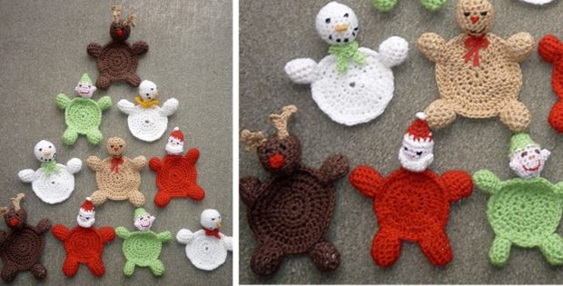 Christmas Crocheted Coasters Free Crochet Pattern