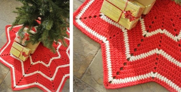 crocheted christmas tree skirt free crochet pattern