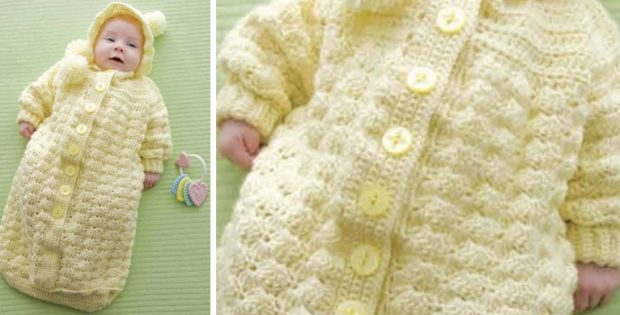 Cozy Crocheted Baby Bunting Free Crochet Pattern