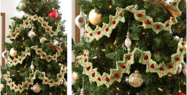 crocheted Christmas tree garland | the crochet space