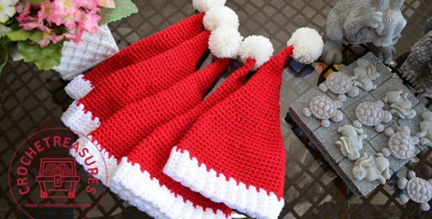 Easy Santa Crocheted Hat Free Crochet Pattern