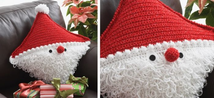 festive Santa crocheted pillow | the crochet space