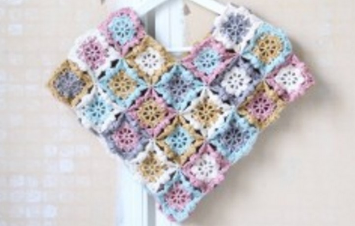 Flower Square Crocheted Kids Poncho Free Crochet Pattern