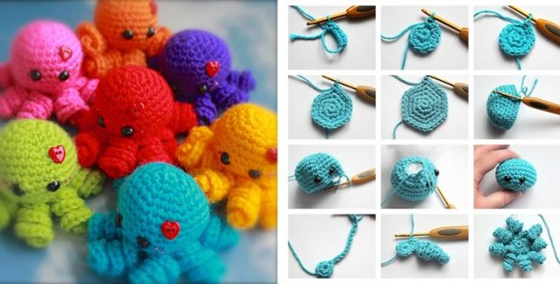 Easy Amigurumi Octopus : Mini amigurumi crocheted octopus free crochet pattern