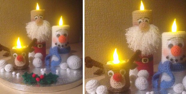 novelty Christmas crocheted candles | the crochet space