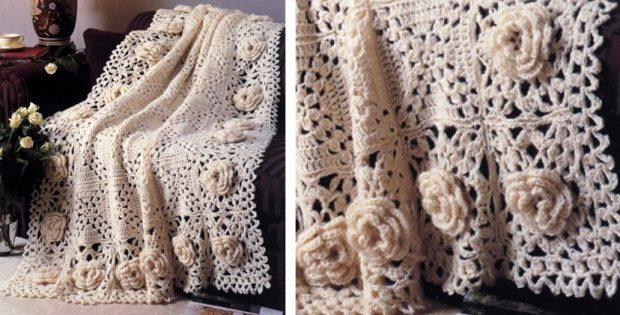 Roses Remembered Crocheted Afghan Free Crochet Pattern