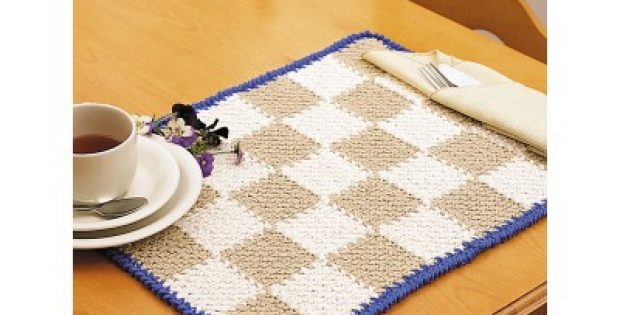 Checkerboard Crochet Placemat Free Crochet Pattern