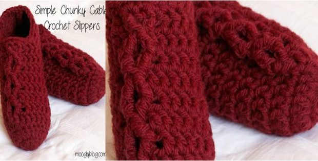 simple chunky cable crocheted slippers | the crochet space