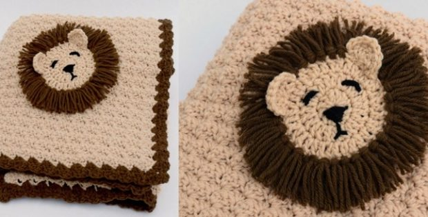 Lion crocheted baby blanket | the crochet space