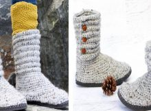 Crochet Sweater Boots With Flip Flop Soles | the crochet space