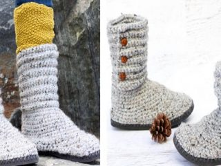 Crochet Sweater Boots With Flip Flop Soles   the crochet space
