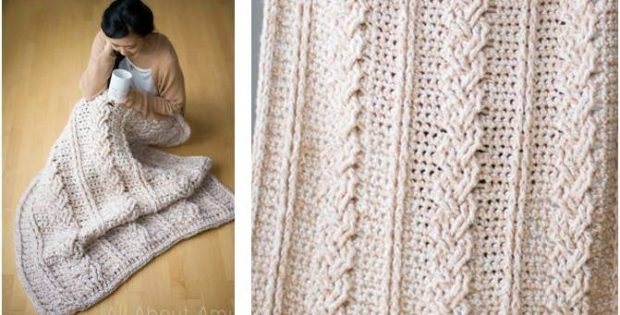 chunky crocheted braided cabled blanket | the crochet space
