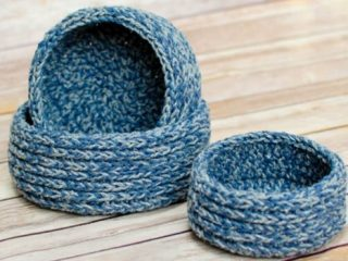 Chunky Crocheted Nesting Baskets | the crochet space