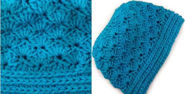 Seashore Crocheted Messy Bun Hat [FREE Crochet Pattern]