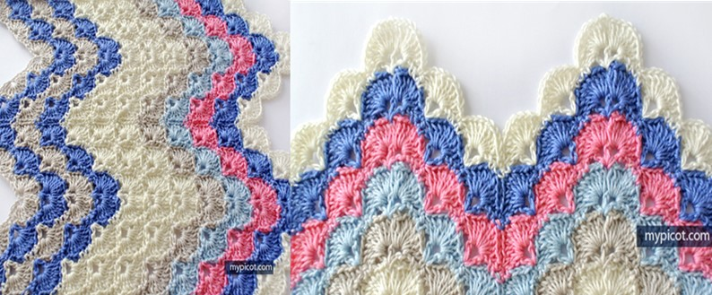 Crocheted Ripple Shell Stitch Free Crochet Pattern