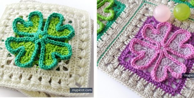 Four Leaf Clover Crocheted Square Free Crochet Pattern